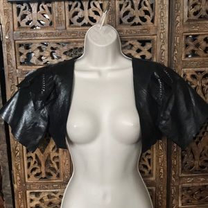 BNG Black Cropped Leather/Polyester Top Jacket 38